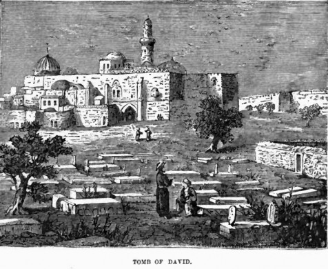 קבר דוד בהר ציון. ציור: Frank S De Hass, 1887